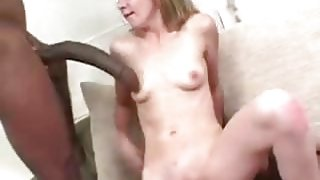 White babe gets a huge hose to suck on