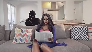 Diamond Jackson in stockings moaning while pounded doggystyle in ffm