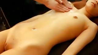 Sensual massage on hairless college girl beauty