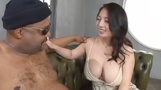 Mako Oda is excited about a man's massive black boner