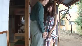 Naughty Asian chick with a great body getting her pussy licked by an old man