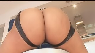 Chubby ebony babe in a bikini getting her black butt jammed by a big black cock